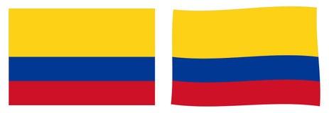 Republiek van de Vlag van Colombia Eenvoudig en lichtjes het golven versie royalty-vrije illustratie