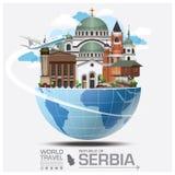Republiek van het Oriëntatiepunt Globale Reis en Reis Infographic van Servië Stock Fotografie