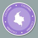 Republiek van ontwerp van de het etiket het vlakke sticker van Colombia Royalty-vrije Stock Afbeelding