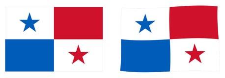 Republik av den Panama flaggan Enkel och vinkande litet version vektor illustrationer