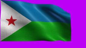 Republik Dschibuti, Flagge von Dschibuti - nahtlose SCHLEIFE stock video