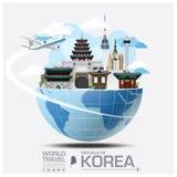 Republik- Koreamarkstein-globale Reise und Reise Infographic Stockfoto