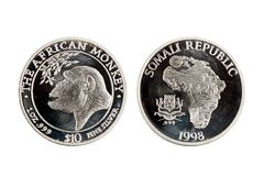 Republik Somalia 10 Dollar 1-Unze-Silbermünze 1998 Lizenzfreies Stockbild
