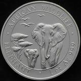 Republik Somalia-Silbermünze mit Elefanten Stockfotografie