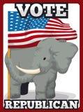 Republikański słoń Trzyma flaga amerykańską, Wektorowa ilustracja ilustracji