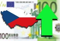 Republika Czech mapa na Euro pieniądze tła zieleni strzała wydźwignięciu Obrazy Stock