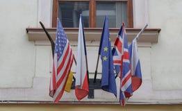 Republika Czech, Praga, Październik 18 2017, niemiec, amerykanin, Frenc Zdjęcia Stock