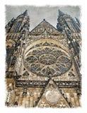 Republika Czech, Praga ulicy Stylizowany sztuki tło zdjęcia royalty free