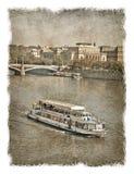 Republika Czech, Praga ulicy Stylizowany tło na starym papierze obraz stock