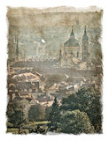 Republika Czech, Praga ulicy Stylizowany tło na starym papierze zdjęcie stock