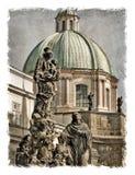 Republika Czech, Praga ulicy Stylizowany tło na starym papierze zdjęcia royalty free