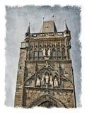 Republika Czech, Praga ulicy Stylizowany tło na starym paper/ zdjęcia royalty free