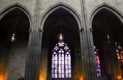 Republika Czech Praga, Wrzesień, - 21, 2017: Witrażu okno w St Vitus katedrze w Praga Obrazy Royalty Free