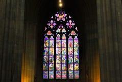 Republika Czech Praga, Wrzesień, - 21, 2017: Witrażu okno w St Vitus katedrze w Praga Obraz Royalty Free