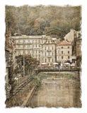Republika Czech ulicy Karlovy Zmienia Stylizowany sztuki tło obraz royalty free