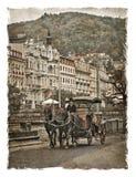Republika Czech ulicy Karlovy Zmienia Stylizowany sztuki tło zdjęcia royalty free