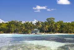 Republika Dominikańska, morze karaibskie, widok od morza na wyspie Saona obrazy stock