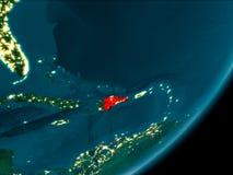Republika Dominikańska od przestrzeni przy nocą Obraz Stock