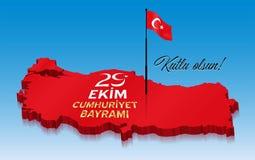Republika Indyczy świętowanie na Październiku 29th nad 3D Turcja ilustracji