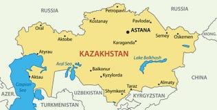 Republika Kazachstan - wektorowa mapa Zdjęcia Stock