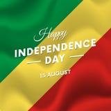 Republika Kongo dzień niepodległości 15 falowania august flaga wektor Zdjęcia Stock