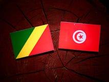 Republika Kongo flaga z tunezyjczyk flaga na drzewnym fiszorku jest Zdjęcia Royalty Free