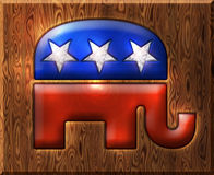 republikan Diamond Wood Symbol för elefant 3D Arkivfoto