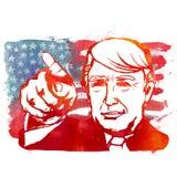 Republikan Donald Trump för vattenfärgillustrationvisning Royaltyfria Bilder