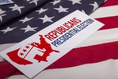 Republikaner-Präsidentschaftswahl-Abstimmung und amerikanische Flagge Stockfoto