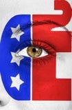 Republikanina słoń malował na twarzy wspierać wybory obraz royalty free