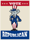 Republikanische Elefant-Maskottchen-Daumen Up USA-Markierungsfahne Lizenzfreie Stockbilder