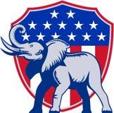 Republikanische Elefant-Maskottchen USA-Markierungsfahne Lizenzfreie Stockfotos