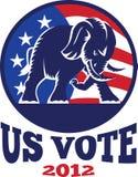 Republikanische Elefant-Maskottchen USA-Markierungsfahne Stockbild
