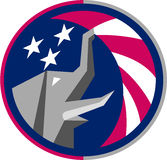 Republikanischer Elefant-Maskottchen USA-Flaggen-Kreis Retro- Lizenzfreies Stockfoto