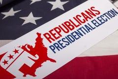 Republikanpresidentvalet röstar och amerikanska flaggan Royaltyfria Foton