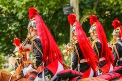 Republikanvakter under ceremonieln av den franska nationella dagen på Juli 14 Fotografering för Bildbyråer
