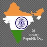 Republikdag av Indien 26 Januari Nationsflagga av Indien också vektor för coreldrawillustration stock illustrationer