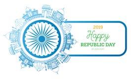 Republikdag i Indien 26 Januari Berömda indiska gränsmärken vektor illustrationer