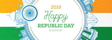 Republikdag i Indien 26 Januari och indisk flagga royaltyfri illustrationer