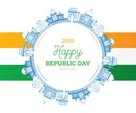 Republikdag i Indien 26 Januari och indisk flagga stock illustrationer