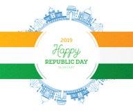 Republikdag i Indien 26 Januari och indisk flagga Berömda landmarks stock illustrationer