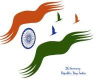 Republikdag26 Januari Indien tema med nationellt symbol royaltyfri illustrationer