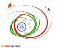 Republikdag26 Januari Indien tema med nationellt symbol stock illustrationer