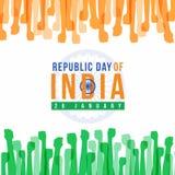 Republikdagen av Indien med abstrakta apelsin- och gräsplannävehänder och vektorn för wheellteckenflagga planlägger Royaltyfria Bilder