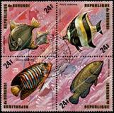 REPUBLIKEN BURUNDI - CIRCA 1974: stämplar som skrivs ut i Burundi, visar fiskar: Monodactylus argenteus, Zanclus canescens, Pygop Royaltyfria Bilder