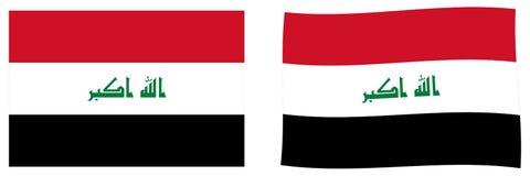 Republiken Irak flagga Enkel och vinkande litet version vektor illustrationer