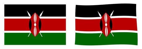 Republiken Kenya flagga Enkel och vinkande litet version royaltyfri illustrationer