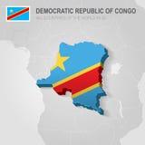 Republiken Kongo som dras på grå färgöversikt Royaltyfria Bilder