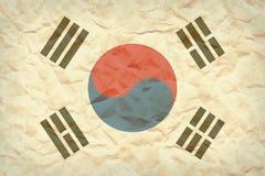 Republiken Korea Sydkorea flaggabakgrund på skrynkligt säckpapper Royaltyfria Foton