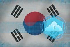 Republiken Korea Sydkorea molnlagring begreppet för oklarheten 3d framför säkerhet Fotografering för Bildbyråer